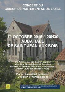 affiche concert St jean aux Bois 1 oct 2016